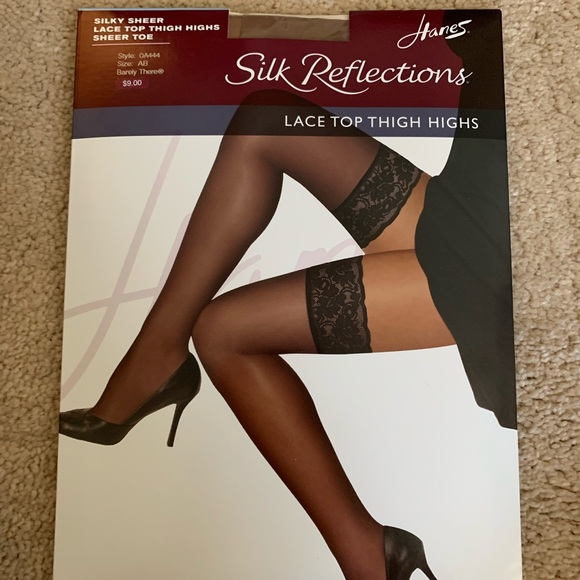 77fda83772c Hanes Accessories | Lace Top Thigh Highs Sheer Nude | Poshmark